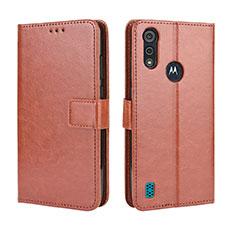 Custodia Portafoglio In Pelle Cover con Supporto L01 per Motorola Moto E6s (2020) Marrone