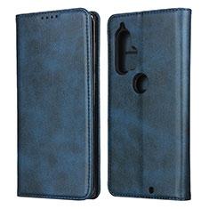 Custodia Portafoglio In Pelle Cover con Supporto L01 per Motorola Moto Edge Plus Blu