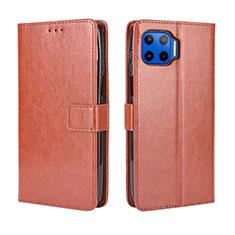 Custodia Portafoglio In Pelle Cover con Supporto L01 per Motorola Moto G 5G Plus Marrone
