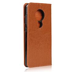 Custodia Portafoglio In Pelle Cover con Supporto L01 per Nokia 7.2 Arancione
