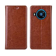 Custodia Portafoglio In Pelle Cover con Supporto L01 per Nokia 8.3 5G Arancione