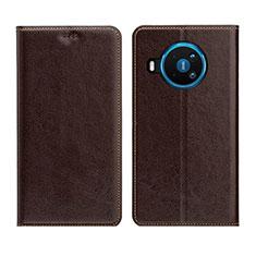 Custodia Portafoglio In Pelle Cover con Supporto L01 per Nokia 8.3 5G Marrone