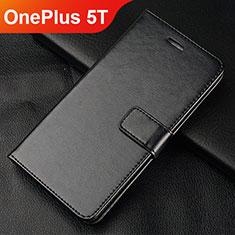 Custodia Portafoglio In Pelle Cover con Supporto L01 per OnePlus 5T A5010 Nero