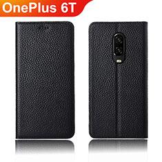 Custodia Portafoglio In Pelle Cover con Supporto L01 per OnePlus 6T Nero