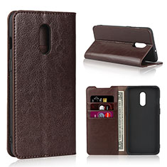 Custodia Portafoglio In Pelle Cover con Supporto L01 per OnePlus 7 Marrone