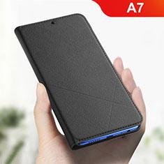 Custodia Portafoglio In Pelle Cover con Supporto L01 per Oppo A7 Nero