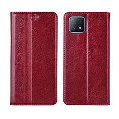 Custodia Portafoglio In Pelle Cover con Supporto L01 per Oppo A72 5G Rosso Rosa