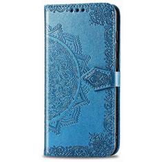 Custodia Portafoglio In Pelle Cover con Supporto L01 per Realme 6i Blu