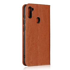 Custodia Portafoglio In Pelle Cover con Supporto L01 per Samsung Galaxy A11 Marrone Chiaro