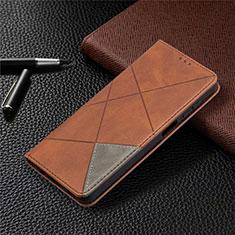 Custodia Portafoglio In Pelle Cover con Supporto L01 per Samsung Galaxy A12 Marrone