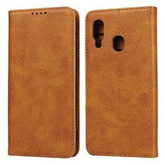 Custodia Portafoglio In Pelle Cover con Supporto L01 per Samsung Galaxy A20e Arancione