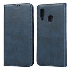 Custodia Portafoglio In Pelle Cover con Supporto L01 per Samsung Galaxy A20e Blu
