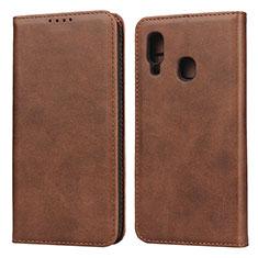 Custodia Portafoglio In Pelle Cover con Supporto L01 per Samsung Galaxy A20e Marrone