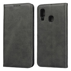 Custodia Portafoglio In Pelle Cover con Supporto L01 per Samsung Galaxy A20e Nero