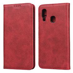 Custodia Portafoglio In Pelle Cover con Supporto L01 per Samsung Galaxy A20e Rosso