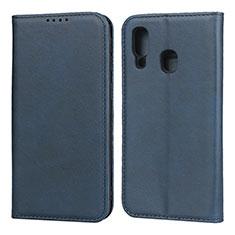 Custodia Portafoglio In Pelle Cover con Supporto L01 per Samsung Galaxy A40 Blu