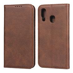 Custodia Portafoglio In Pelle Cover con Supporto L01 per Samsung Galaxy A40 Marrone