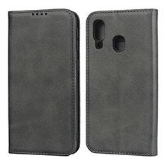 Custodia Portafoglio In Pelle Cover con Supporto L01 per Samsung Galaxy A40 Nero