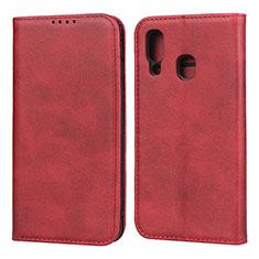 Custodia Portafoglio In Pelle Cover con Supporto L01 per Samsung Galaxy A40 Rosso