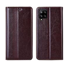 Custodia Portafoglio In Pelle Cover con Supporto L01 per Samsung Galaxy A42 5G Marrone