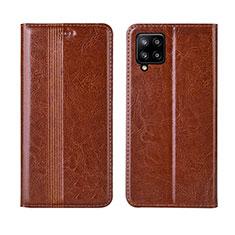 Custodia Portafoglio In Pelle Cover con Supporto L01 per Samsung Galaxy A42 5G Marrone Chiaro