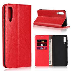 Custodia Portafoglio In Pelle Cover con Supporto L01 per Samsung Galaxy A50 Rosso