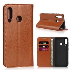 Custodia Portafoglio In Pelle Cover con Supporto L01 per Samsung Galaxy A60 Arancione