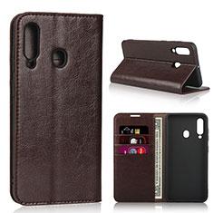 Custodia Portafoglio In Pelle Cover con Supporto L01 per Samsung Galaxy A60 Marrone