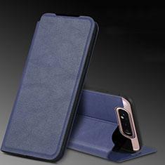 Custodia Portafoglio In Pelle Cover con Supporto L01 per Samsung Galaxy A80 Blu