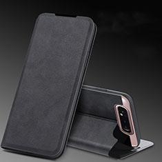 Custodia Portafoglio In Pelle Cover con Supporto L01 per Samsung Galaxy A80 Nero