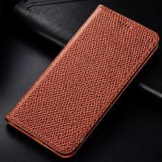 Custodia Portafoglio In Pelle Cover con Supporto L01 per Samsung Galaxy M60s Marrone