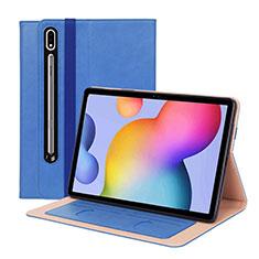Custodia Portafoglio In Pelle Cover con Supporto L01 per Samsung Galaxy Tab S7 Plus 12.4 Wi-Fi SM-T970 Blu