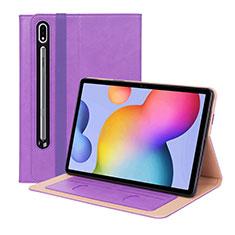 Custodia Portafoglio In Pelle Cover con Supporto L01 per Samsung Galaxy Tab S7 Plus 5G 12.4 SM-T976 Viola