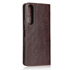 Custodia Portafoglio In Pelle Cover con Supporto L01 per Sony Xperia 1 II Marrone