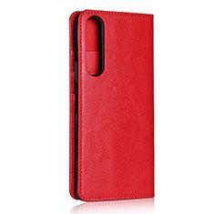 Custodia Portafoglio In Pelle Cover con Supporto L01 per Sony Xperia 1 II Rosso