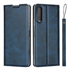 Custodia Portafoglio In Pelle Cover con Supporto L01 per Sony Xperia 10 II Blu
