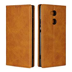 Custodia Portafoglio In Pelle Cover con Supporto L01 per Sony Xperia XA2 Ultra Arancione