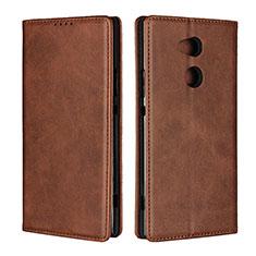 Custodia Portafoglio In Pelle Cover con Supporto L01 per Sony Xperia XA2 Ultra Marrone