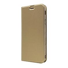 Custodia Portafoglio In Pelle Cover con Supporto L01 per Sony Xperia XA3 Oro