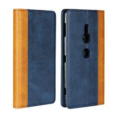 Custodia Portafoglio In Pelle Cover con Supporto L01 per Sony Xperia XZ2 Blu