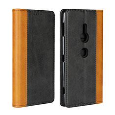 Custodia Portafoglio In Pelle Cover con Supporto L01 per Sony Xperia XZ2 Nero