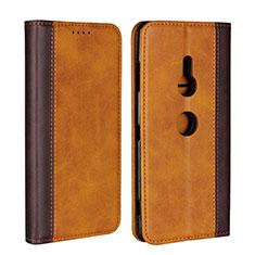 Custodia Portafoglio In Pelle Cover con Supporto L01 per Sony Xperia XZ3 Arancione