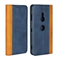 Custodia Portafoglio In Pelle Cover con Supporto L01 per Sony Xperia XZ3 Blu