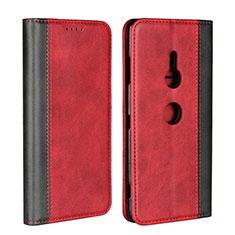 Custodia Portafoglio In Pelle Cover con Supporto L01 per Sony Xperia XZ3 Rosso
