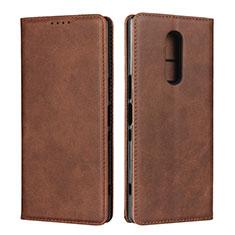 Custodia Portafoglio In Pelle Cover con Supporto L01 per Sony Xperia XZ4 Marrone