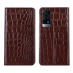 Custodia Portafoglio In Pelle Cover con Supporto L01 per Vivo X60 5G Marrone