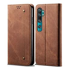 Custodia Portafoglio In Pelle Cover con Supporto L01 per Xiaomi Mi Note 10 Marrone
