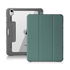 Custodia Portafoglio In Pelle Cover con Supporto L02 per Apple iPad Air 10.9 (2020) Verde Notte