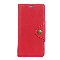 Custodia Portafoglio In Pelle Cover con Supporto L02 per Asus Zenfone 5 Lite ZC600KL Rosso