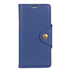 Custodia Portafoglio In Pelle Cover con Supporto L02 per Asus Zenfone Max ZB555KL Blu